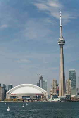 The Skydome And Cn Tower From Lake Ontario With Blue Sky And Clouds | Monuments and Buildings