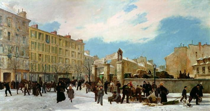 Siege of Paris. A Yard for Firewood, Boulevard de Montparnasse, January 1871