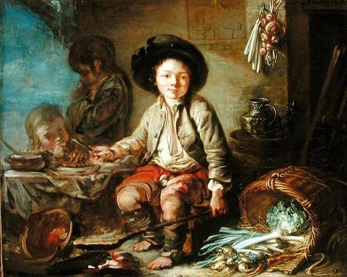 The Young Chimney Sweep's Dinner by French School, (18th century)