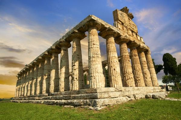 """Italy, Ancient Doric Greek temple of Athena of Pastum"" 