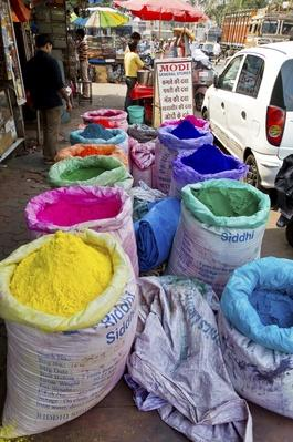 India, Mumbai, Bags with colorful Powder | World Religions: Hinduism