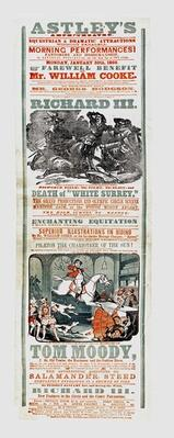 Astley's Circus poster advertising the Farewell Benefit of Mr. William Cooke, January 30th, 1860