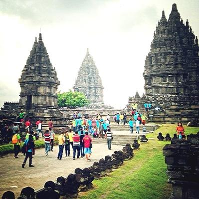 Tourists At Prambanan Temple Against Sky | World Religions: Hinduism