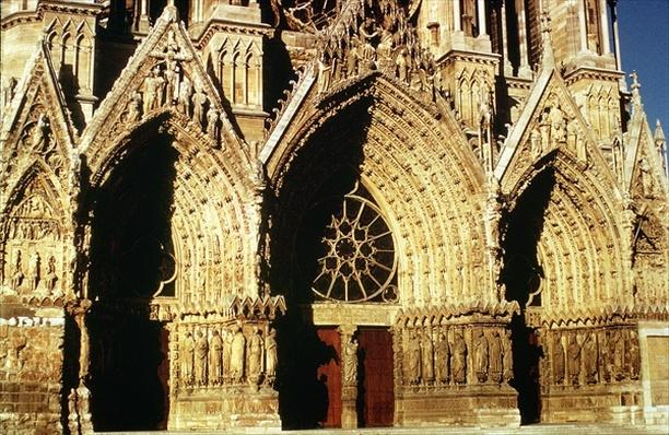 View of the West Front portals, begun in 1231 and completed in 1430