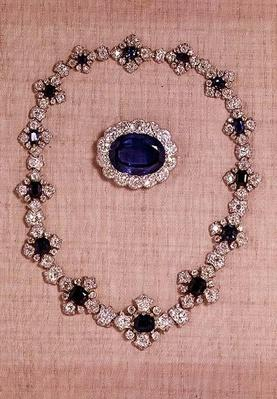 The Princess Royal's Sapphires - sapphire and diamond brooch and necklace.