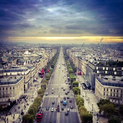 Aerial view of the Champs Elysees, Paris, France | Cityscapes | Geography 14.1