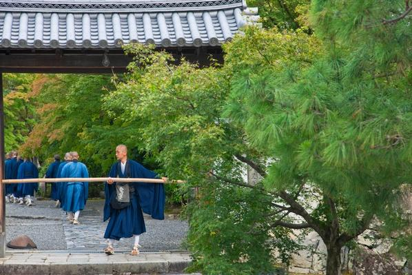 Zen monks at Tenryu-ji Temple in Kyoto, Japan | World Religions: Buddhism