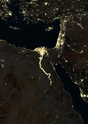 Egypt and part of the Middle East at night in 2012 | Conflicts: Syria