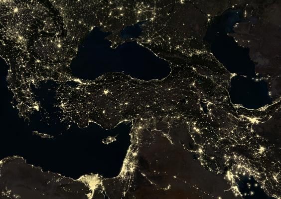Turkey and part of the Middle East at night in 2012 | Conflicts: Syria