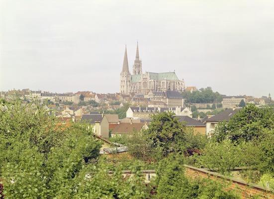 View of Chartres Cathedral, from the south-east, begun 1194