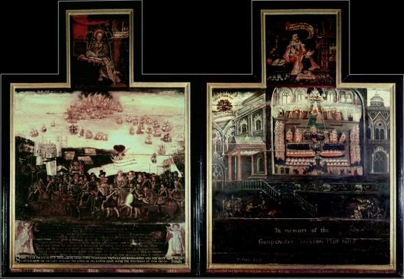 Diptych depicting the Arrival of Queen Elizabeth I