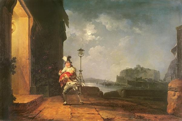 David Garrick as Don John in his adaptation of 'The Chances' by Beaumont and Fletcher, Act 1, Scene 2, c.1774