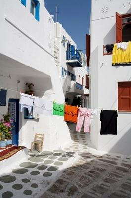 Clothes Line in House Courtyard, Mykonos, Cyclades, Greece | Earth's Resources