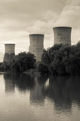 Cooling Towers Reflecting in Susquehanna River, Three Mile Island | Earth's Resources