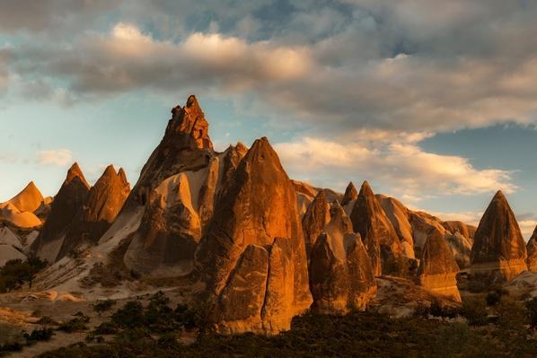 Volcanic Desert Landscape in Evening Light, Turkey   Earth's Surface
