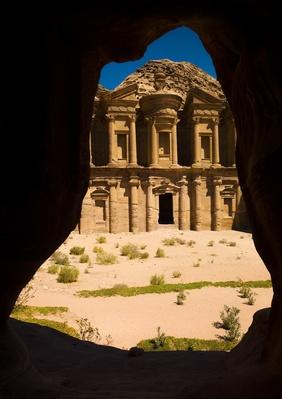 Jordan, Petra, View of ancient temple through natural arch | Ancient Civilizations
