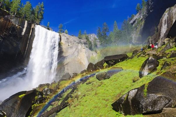 Yosemite National Park, Vernal Falls and Hikers on Mist Trail | Earth's Surface