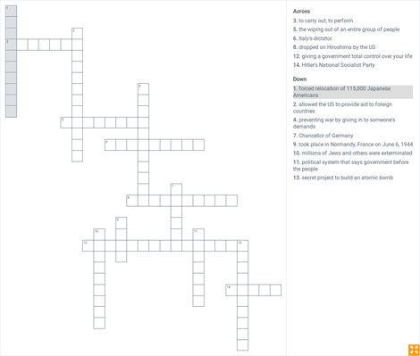 World War II Crossword