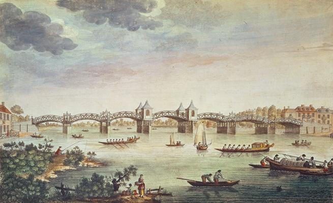 View of the Bridge over the Thames at Hampton Court, engraved by John Bowles