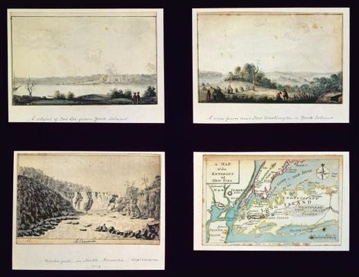 North American Scenes and a map of New York, c.1772