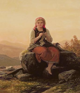Young Girl Knitting, 19th century