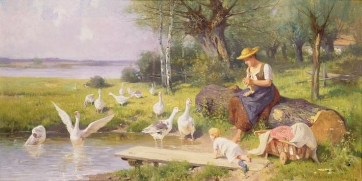 Mother and Child with Geese