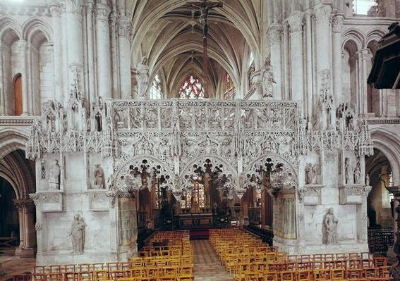 The Nave and Interior of Eglise Sainte-Madeleine, showing the screen decorated in Flamboyant Gothic style by Jean Gailde between 1508-17