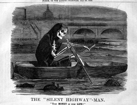 The 'Silent Highway'-Man, 'Your MONEY or your LIFE', cartoon from 'Punch, or the London Charivari', 10th July 1858