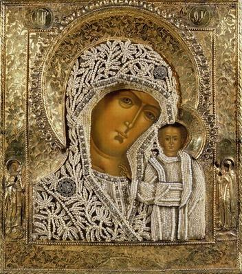 Detail of an icon showing the Virgin of Kazan by Yegor Petrov, Moscow, 1788