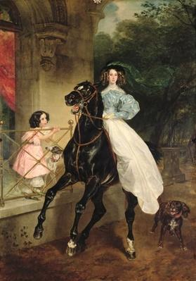 The Horsewoman, Portrait of Giovanina and Amacilia Paccini, wards of Countess Samoilova, 1832