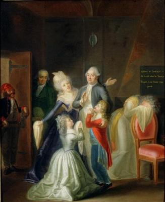 Farewell to Louis XVI by his Family in the Temple, 20th January 1793