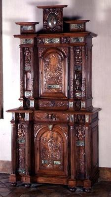 Cabinet with two sections, and a double door representing Actaeon metamorphosising into a deer and the figure of Victory