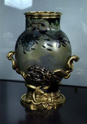 Crystal vase with a stand with intertwined snakes, c.1890