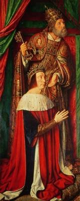 Peter II de Beaujeu of Bourbon with St. Peter, left wing of the Bourbon Altarpiece