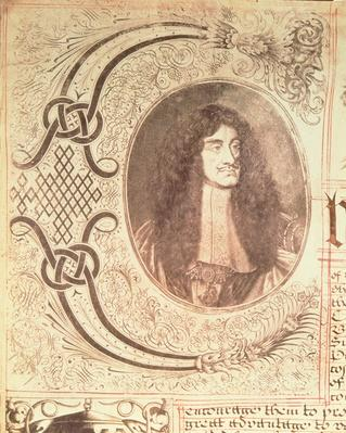 Portrait of Charles II from the Hudson's Bay Company Charter, 2nd May 1670
