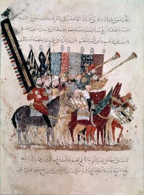 Ar 5847 f.19 Celebration of the end of Ramadan, from 'The Maqamat'