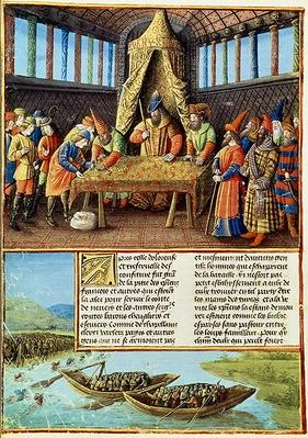 Fr 5594 f.267v Bayezid I receiving the ransom, from 'Passages faits Outremer' written by Sebastien Mamerot, c.1490