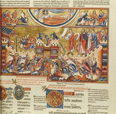 Lat 8846 f.76, Siege on a town, from the Hebraica Romana Gallica