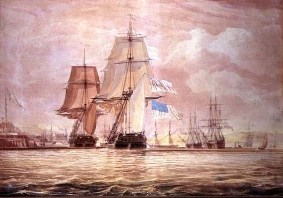 HMS 'Shannon' leading the 'Chesapeake' into Halifax Harbour, 1813
