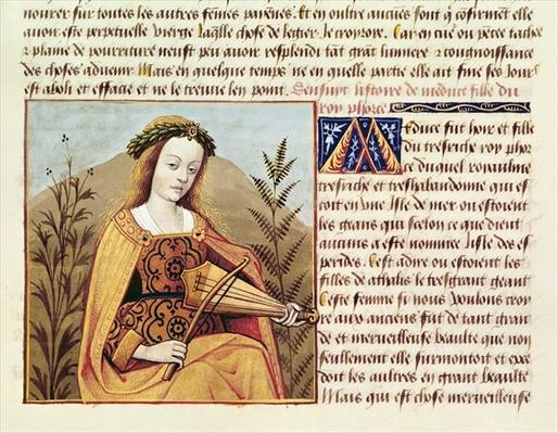 Fr 599 f.19 Woman playing a viol, from `Des Cleres et Nobles Femmes'