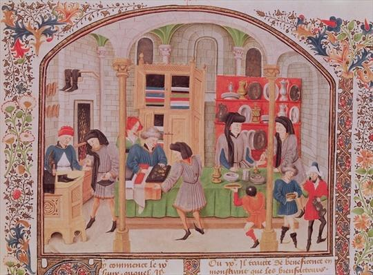 Ms 927 f.145r The Mint, from Aristotle's `Ethics, Politics, Economics', from a French translation by Nicholas Oreme