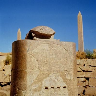 Sacred scarab statue in the Temple of Amun, erected by Amenhotep III and dedicated to the sun god Atum-Kheperre, New Kingdom