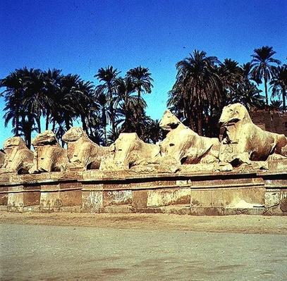 Avenue of ram-headed sphinxes lining the Processional Way to the Great Temple of Amun, New Kingdom