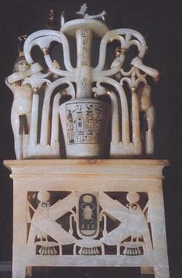 Floral unguent jar, from the Tomb of Tutankhamun