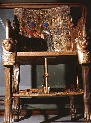 Throne of Tutankhamun, showing the King seated and the Queen offering him a vase, from the tomb of Tutankhamun in the Valley of the Kings at Thebes, c.1361-52 BC