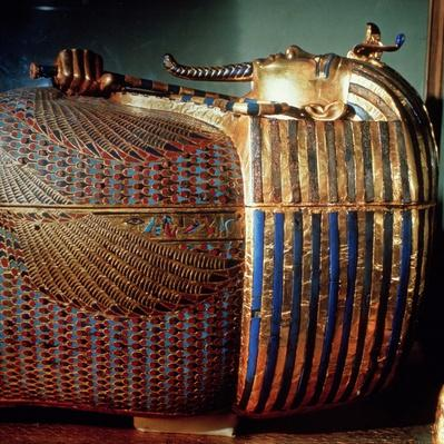 The innermost coffin of Tutankhamun, showing the king in Osiride form clasping the crook and the flail, from the tomb of Tutankhamun