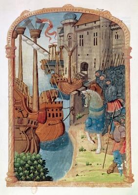 8378 Velin 745 f.1 Knights on horseback, c.1350's