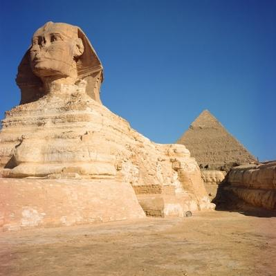 The Sphinx and The Pyramid of Khafre, Giza, Old Kingdom 2613-2494 B.C