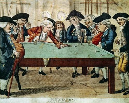 Billiards, 18th century etching by R.Sayer