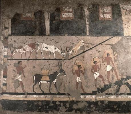 Agricultural scene, wall painting removed from the Mastaba of Ti at Sakkara, Old Kingdom, c.2494-2345 BC